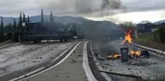Scènes de guerre au Boulou Pyrénées-Orientales gilets jaunes