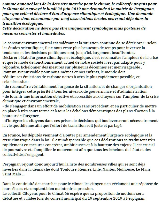Le collectif Citoyens pour le Climat 66 demande le déclaration d'état d'urgence climatique et écologique à Perpignan
