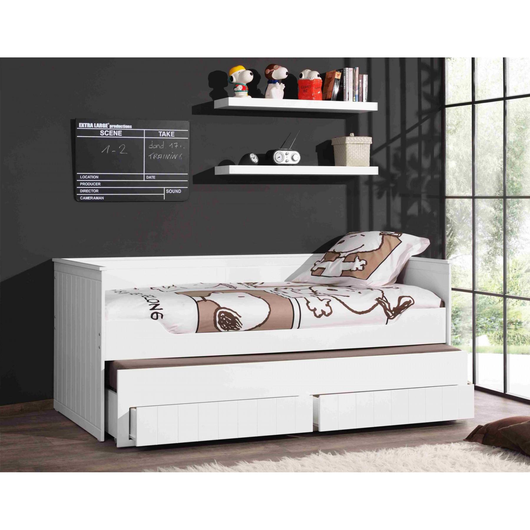 lit gigogne laque blanc en mdf et pin massif avec tiroirs