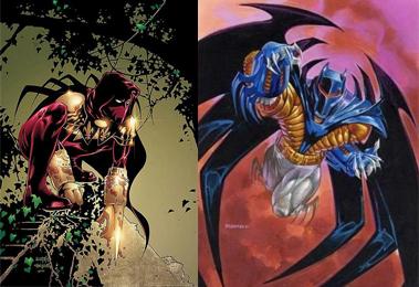 A gauche, Azrael (Jean-Paul Valley) dans son costume traditionnel, à droite, Azrael dans l'armure qui lui a permis de vaincre Bane.