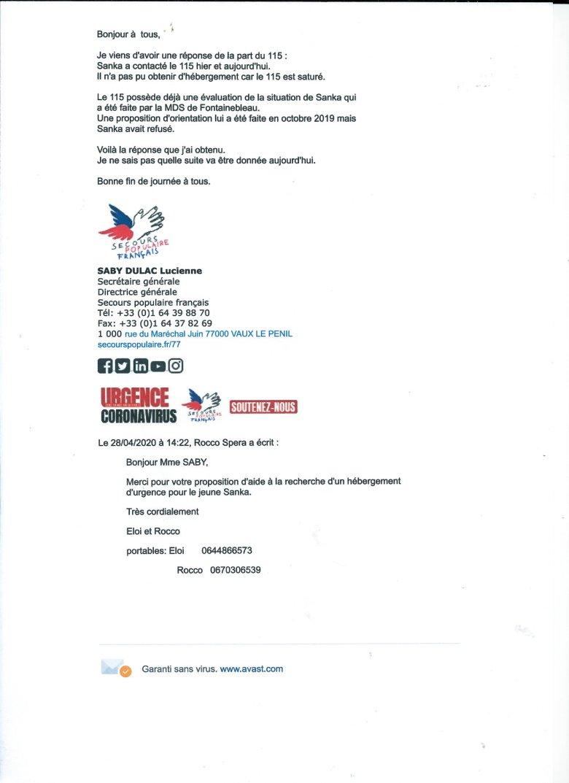 115DP - Secours populaire - Journal de bord du 2020 04 28-Sanka 1