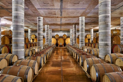 The incredible Travertine marble cellar at Cantine Dei in Montepulciano, Tuscany