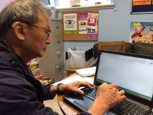Learner using a laptop