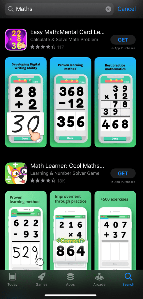 Screenshot of maths games from an app store.