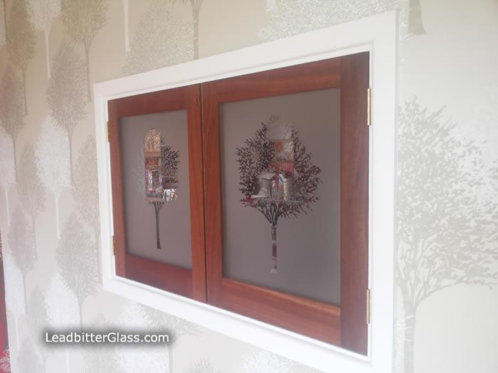 pass through kitchen window replacement cabinet doors glass front sandblasted trees - bristol