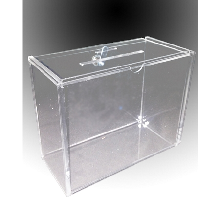 Clear Plastic Lock Box. Source One Premium Acrylic Cube Donation Box with Deluxe Rear Open Door and Cam Lock Suggestion Box (8 Inch. Clear).