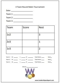 3 Team Round Robin Tournament Template planner free download