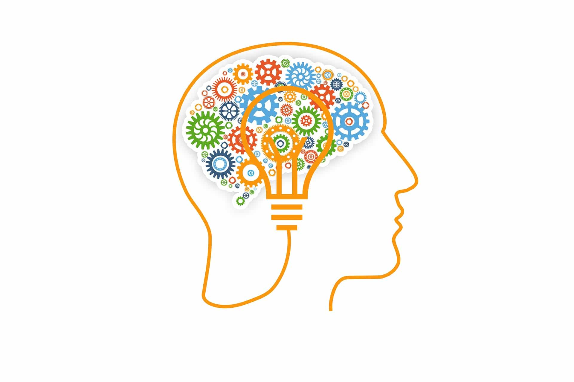 human brain with a lightbulb or idea and cognitive wheels