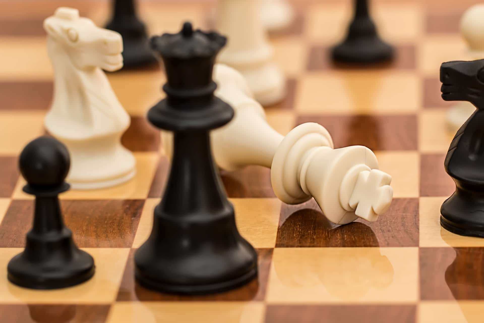 chess board with white king taken