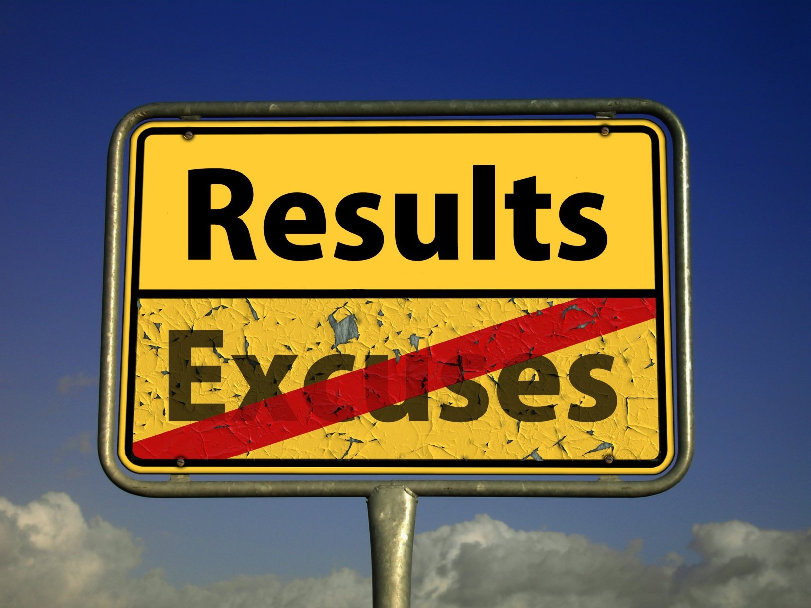 Image showing result over excuses road sign