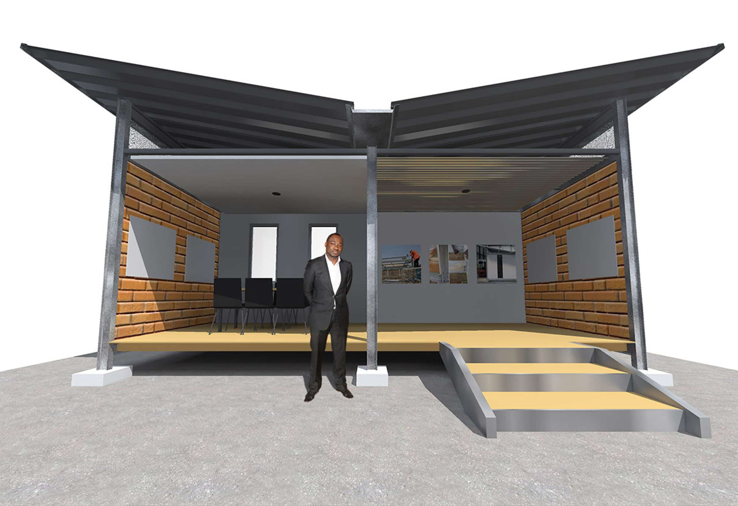 Butterfly wings for low cost housing  Leading