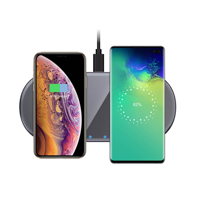 Leadingplus Ultra Thin 2 IN 1 Dual Fast Car Wireless Charger for iPhone Samsung Huawei Xiaomi