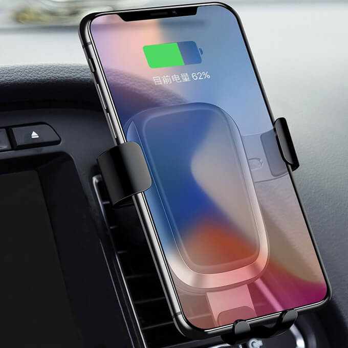Car Air Vent Holder Portable for SmartPhone Support Fast Qi Wireless Car Charger