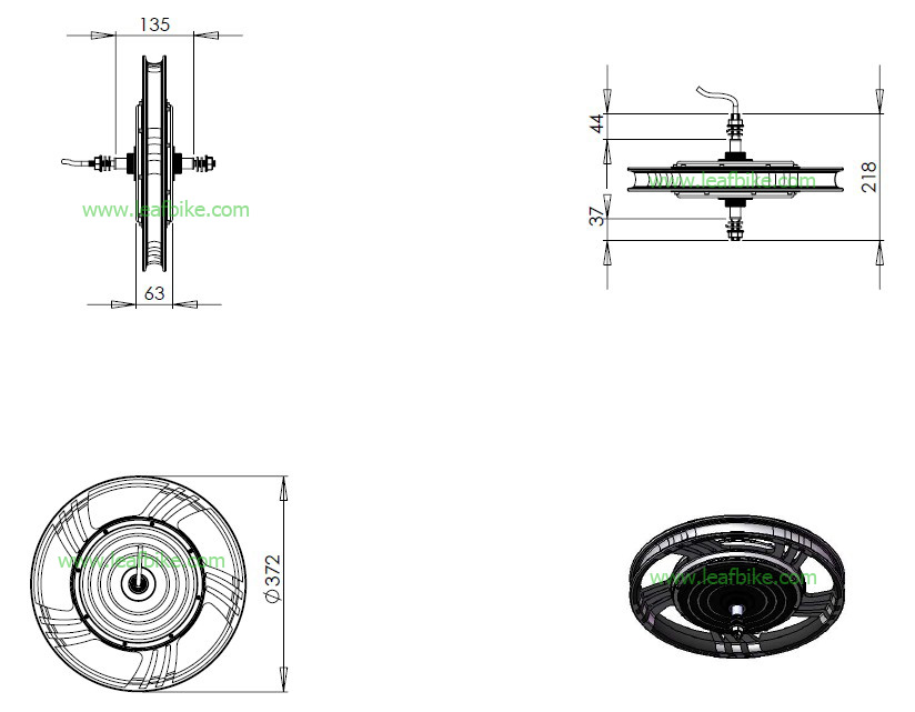 18 inch 36V 750W rear hub motor electric bike conversion kit
