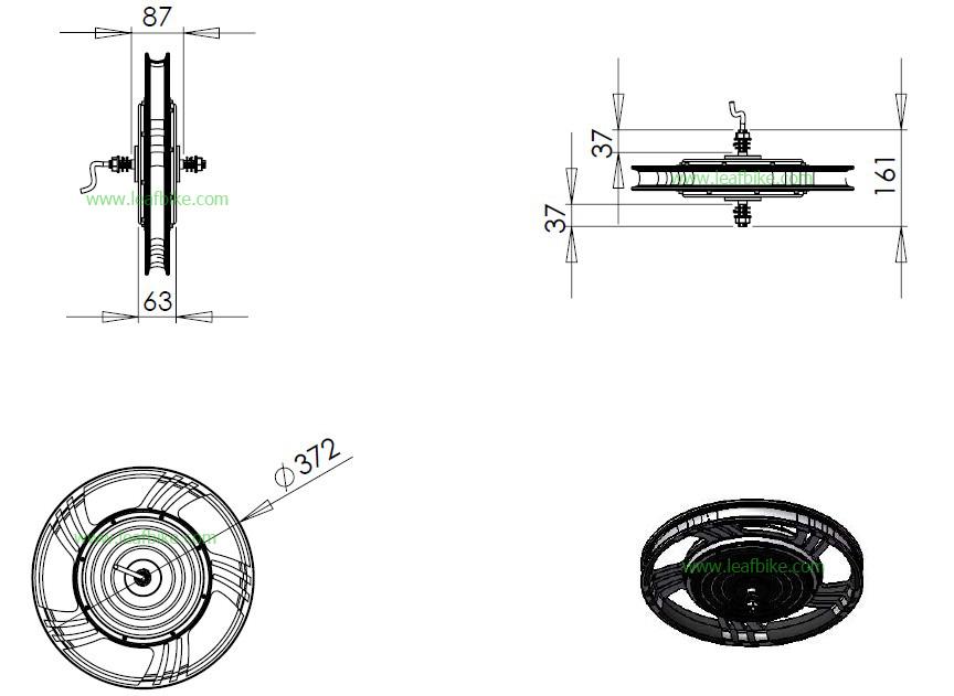 18 inch 48V 1000W front hub motor