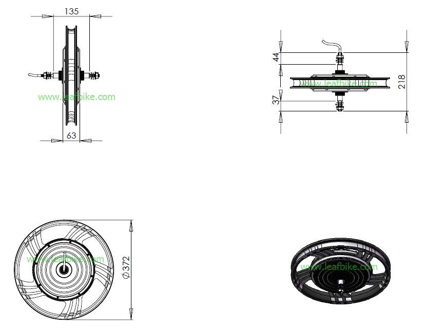 18 inch 48V / 52V 1000W rear electric scooter motor