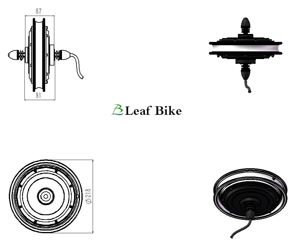 12 inch 36V 400W front scooter motor kit