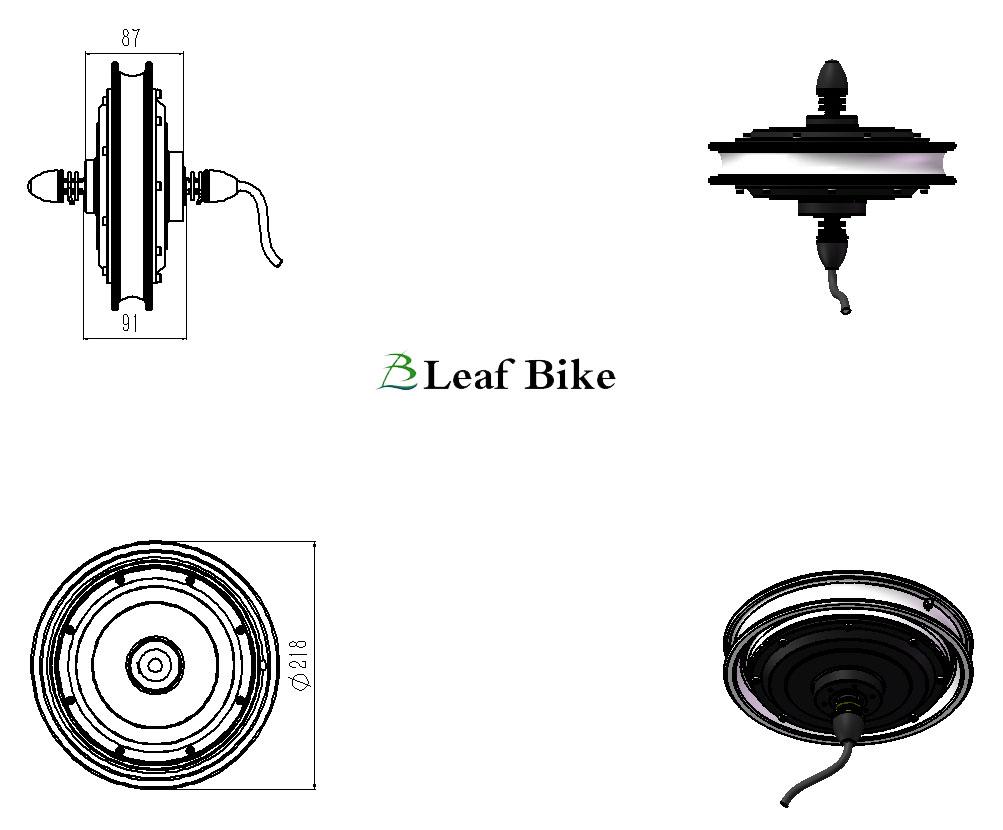 12 inch 36V 250W bldc hub motor front wheel
