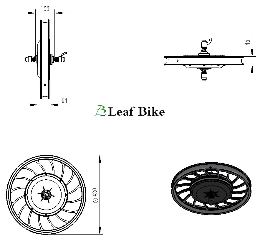 20 inch 48V 1000W front casted hub motor electric bike