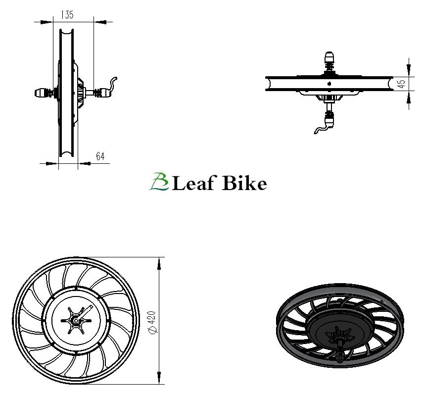 20 inch 48V / 52V 1000W rear casted hub motor wheel
