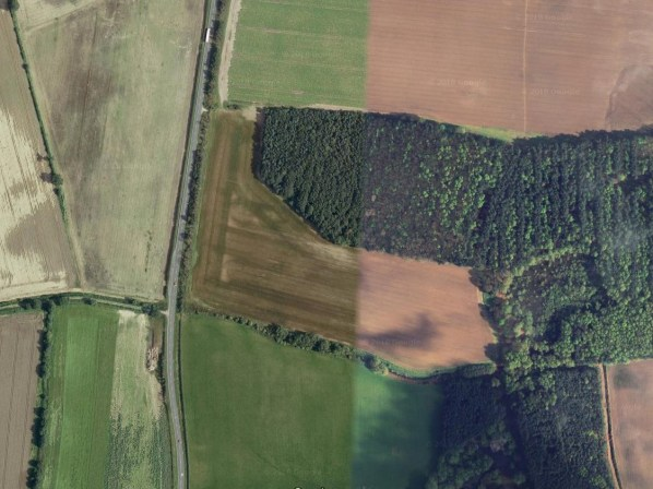 Aerial view of the site before work has started