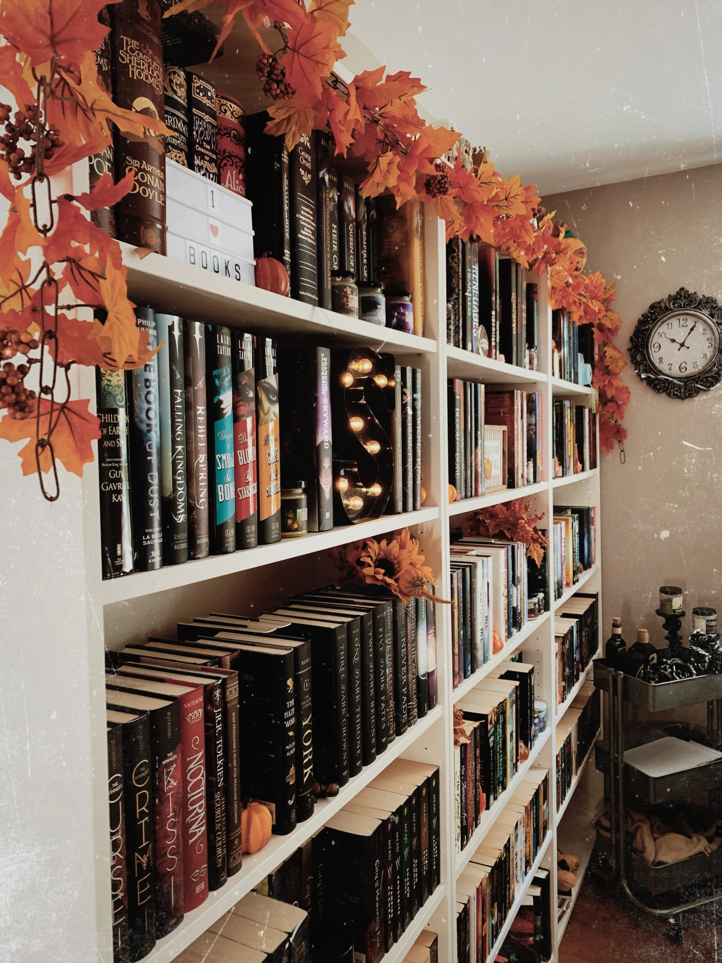 bookshelves with fall garland