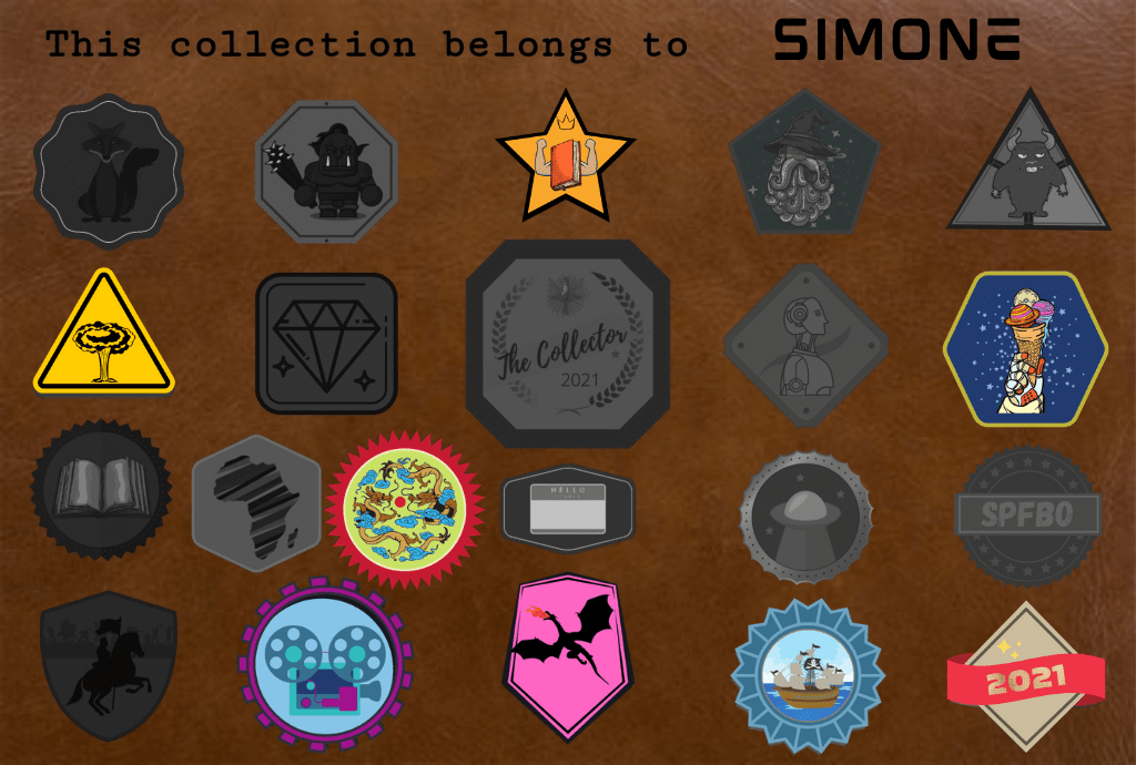 SFF Badge collection showing seven collected badges