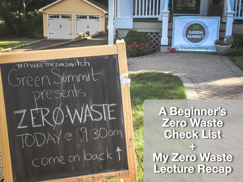 Chalkboard on front lawn advertising a zero waste lecture