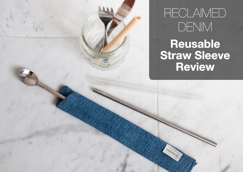 Denim Reusable Straw Sleeve and Utensils