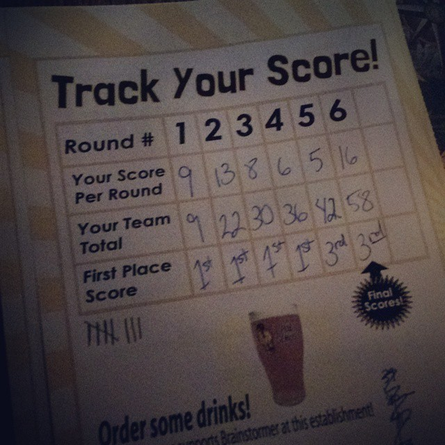 "It's an exciting night for the ""Slow Children Playing"" pub trivia team! Held our own in 1st place until the dreaded music round. Came in 3rd - first time in the ranks! #beermakesussmart"