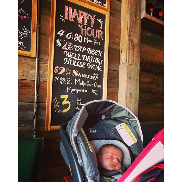 @edisoncurran made me venture out of the house for longer than 5 minutes for a celebratory happy hour.  We've been working hard to fatten up those cheeks and get him back to birth weight by two weeks old.  Mission accomplished! #pudgybaby #thankgodicanhavewineagain