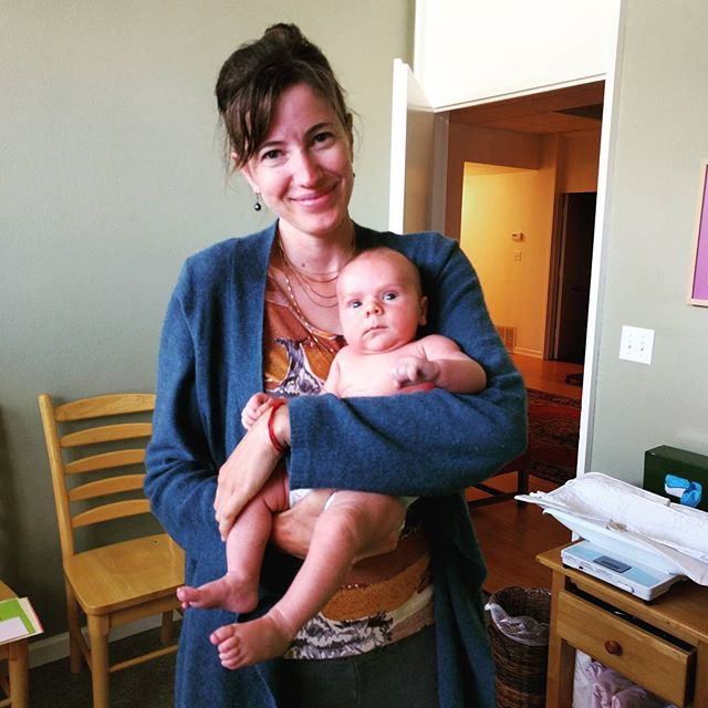 @edisoncurran getting one last snuggle from Renee - the fantastic midwife attending our birth. Yesterday was our final postpartum check in at the wonderful Pacifica Family Maternity birth center. I can not praise this special place and the beautiful midwives and student midwives enough.  I feel a bit like I am graduating high school and leaving home. I'll miss going to this place on a regular basis and being a part of the beautiful community they build...guess @tedcurran and I will have to have another so we can go back.