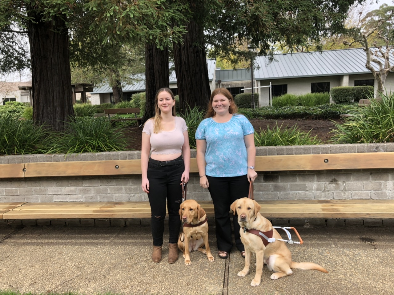 Jenna Faris and Heidi Springstroh stand side by side in front of a small grove of redwood trees with their yellow lab guide dogs. Jenna, left, wears a lacy white crop top, black skinny jeans, and brown boots. Heidi, right, wears a sparkly teal blouse, black jeans, and brown sandals. Both girls smile happily at the camera. The dogs sit to each girl's left, wearing their harnesses and gazing soulfully at the camera.