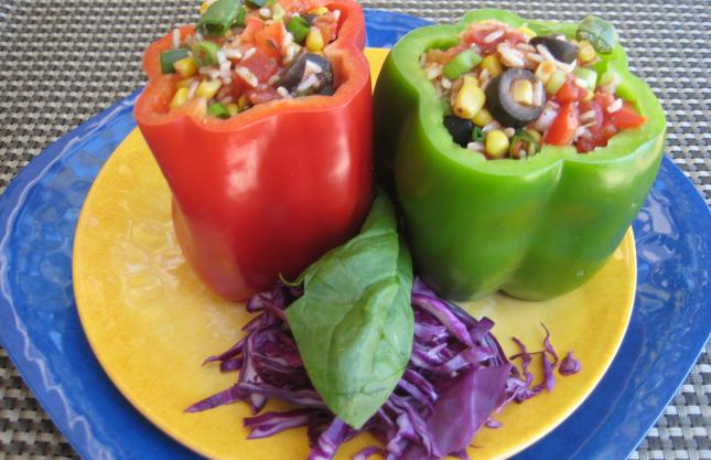 Slow-Cooked Stuffed Bell Peppers for #MeatlessMonday