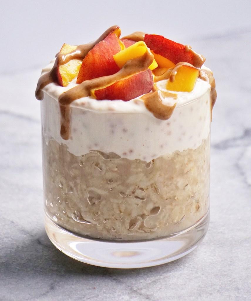 Peachy Oat Yogurt Parfait by Leahs Plate8 855x1024 - Peach Oat Yogurt Parfait
