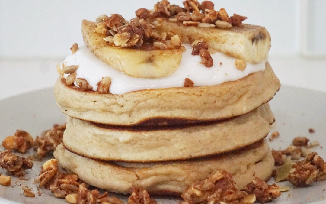 Paleo Pancakes with Coconut Yogurt, Caramelized Banana & Grain-Free Granola
