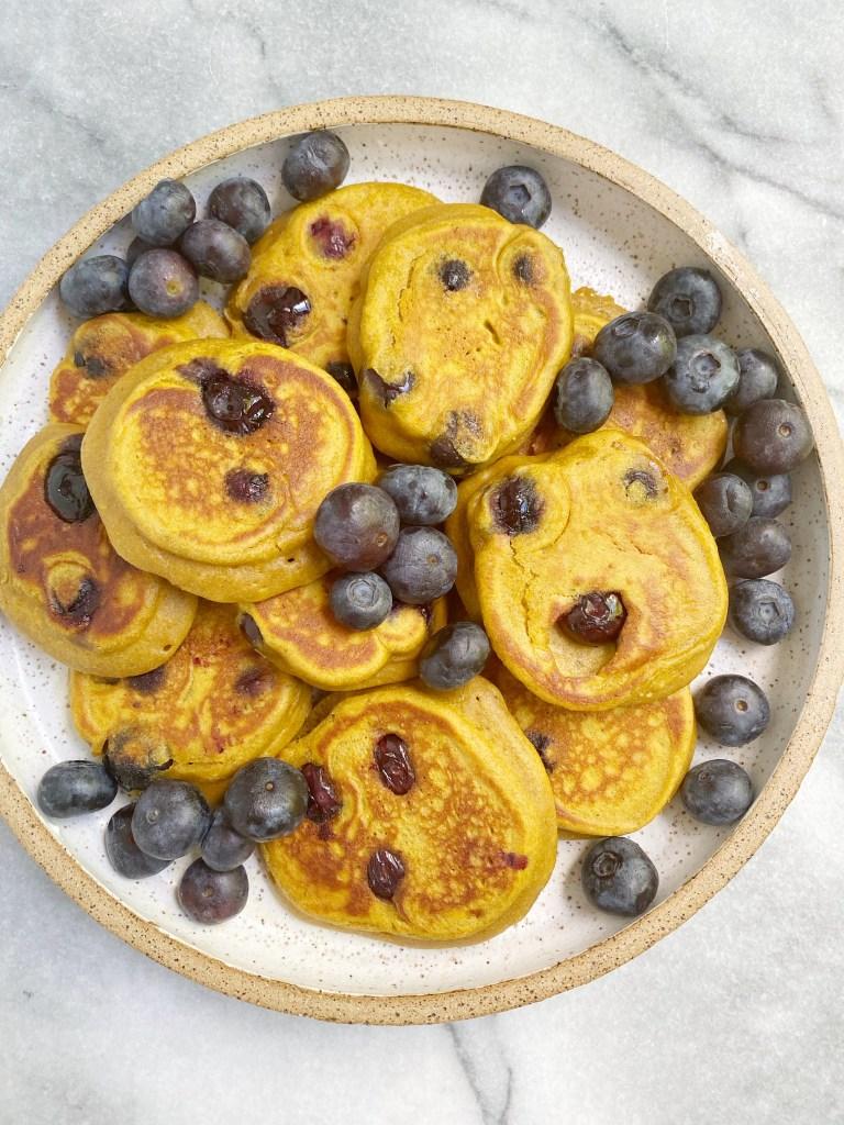 sweet potato blueberry pancakes 768x1024 - Mini Sweet Potato Blueberry Pancakes (Gluten-Free)