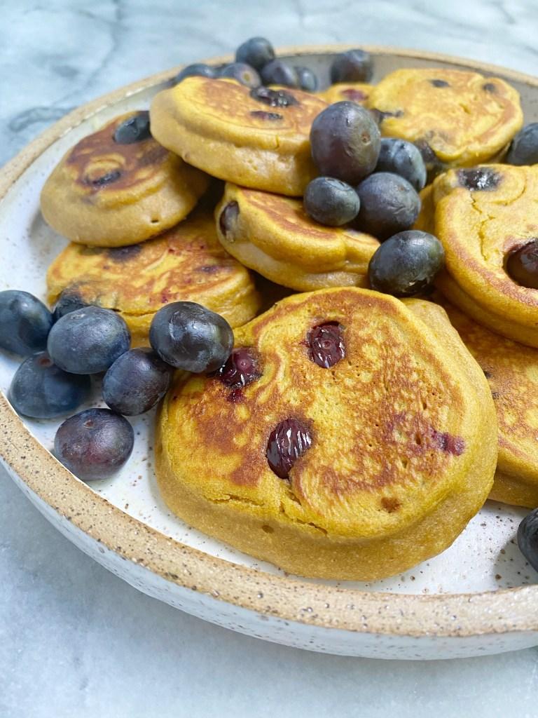 sweet potato blueberry pancakes2 768x1024 - Mini Sweet Potato Blueberry Pancakes (Gluten-Free)