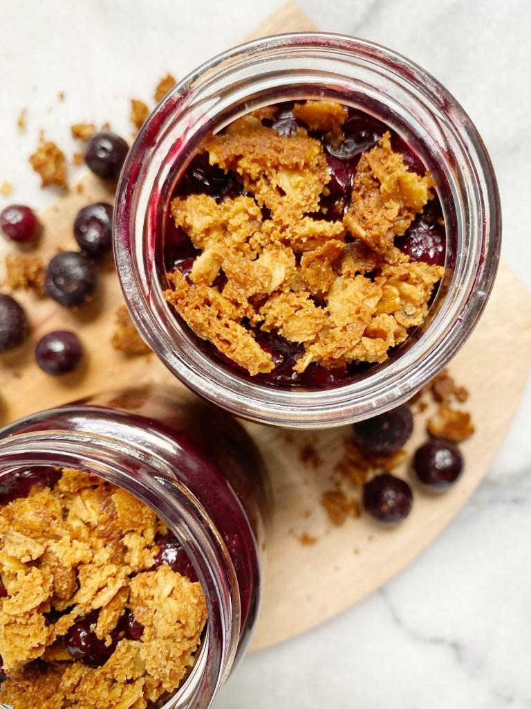 mini blueberry crisp 768x1024 - Healthy Mini Blueberry Crisp Jars (Vegan & GF)