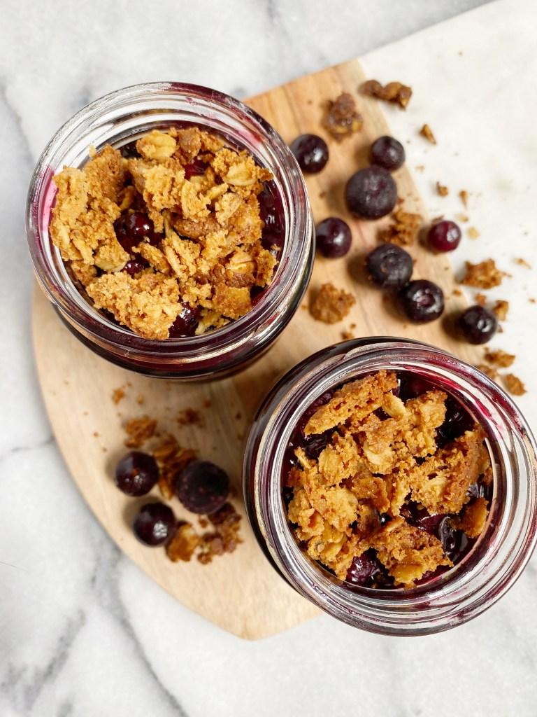 mini blueberry crisp2 768x1024 - Healthy Mini Blueberry Crisp Jars (Vegan & GF)