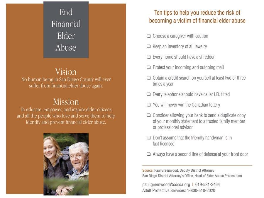 End Financial Elder Abuse brochure inside