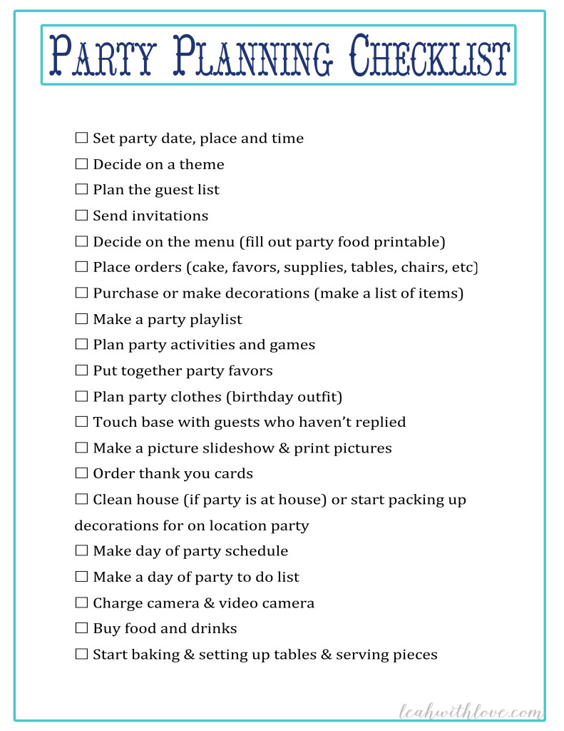 party planning schedule