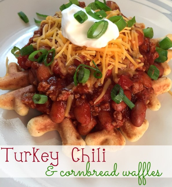 turkey chili with cornbread waffles