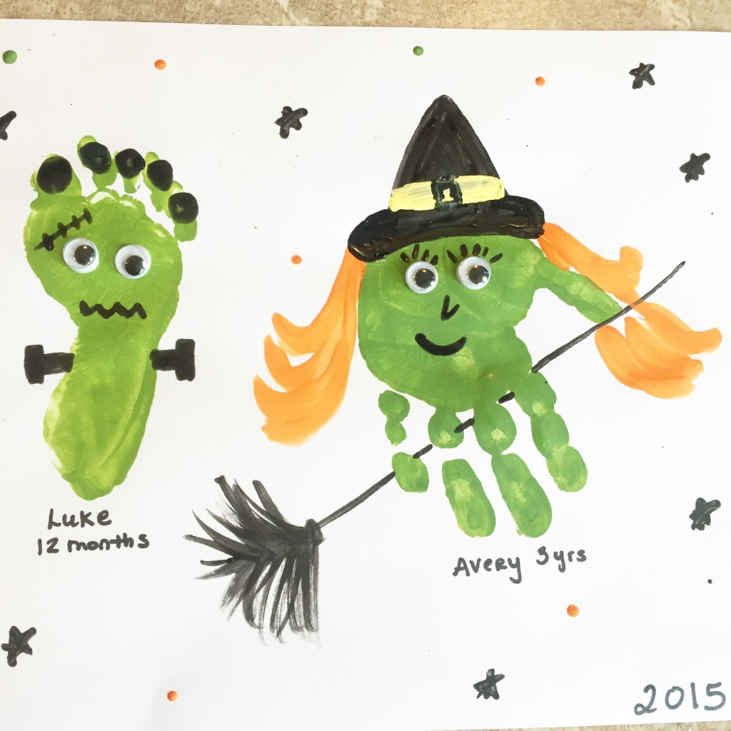 halloween handprint and footprint art handprint with 6671