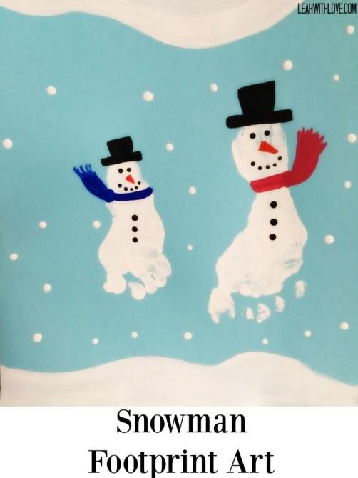 Snowman Footprint Art