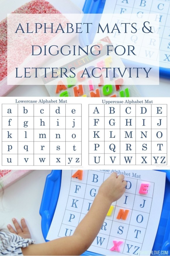 alphabet mats &digging for letters activity