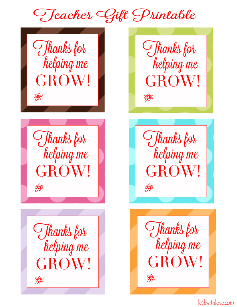 image about Free Printable Teacher Appreciation Tags called Thank by yourself for assisting me mature\