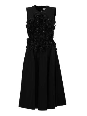 Black Nylon Ruched Dress