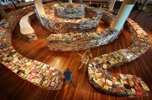Vista superior del laberinto de libros