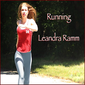 Leandra Ramm picture, wearing a red singlet and blue pants jogging for Running Album Cover